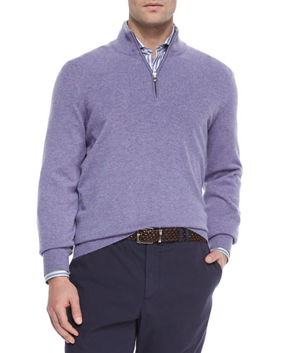 Cashmere Quarter-Zip Pullover, Light Purple