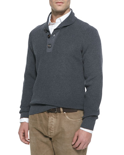 Chunky Shawl-Collar Pullover Sweater, Pewter