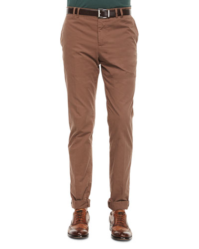 Five-Pocket Soft Fit Cotton Pants, Cigar