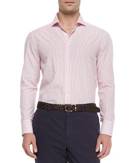 Bar Stripe Long-Sleeve Sport Shirt, Red