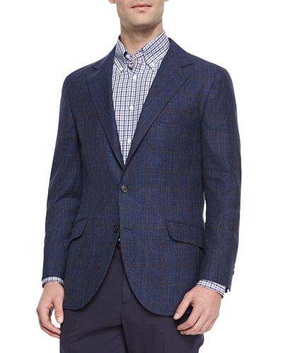 Wool Windowpane Sport Jacket, Navy/Brown