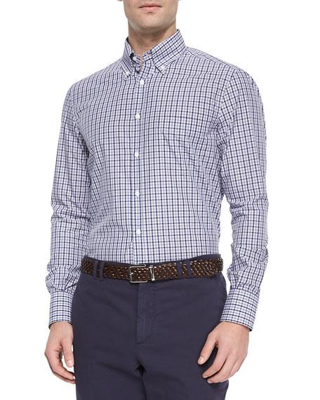 Brunello Cucinelli Tattersall-Check Button-Down Shirt, Navy/Gray