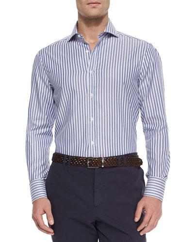 Awning Stripe Long-Sleeve Sport Shirt, Navy