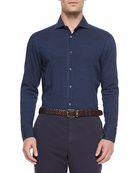 Brunello Cucinelli Medallion Print Denim Sport Shirt, Navy