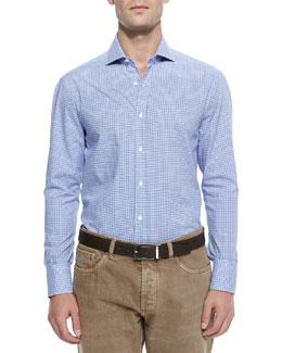 Basic Woven Check Sport Shirt, Light Blue