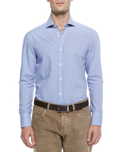 Basic Woven Check Sport Shirt, Light Blue