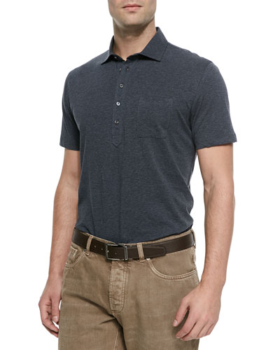 Five-Button Jersey Knit Polo, Charcoal
