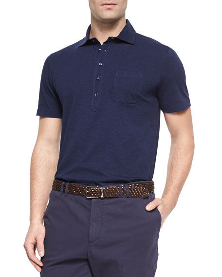 Brunello Cucinelli Five-Button Jersey Knit Polo, Ink