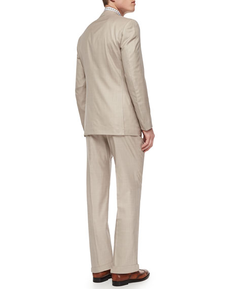 Ermenegildo Zegna Trofeo Wool/Silk Solid Two-Piece Suit, Tan