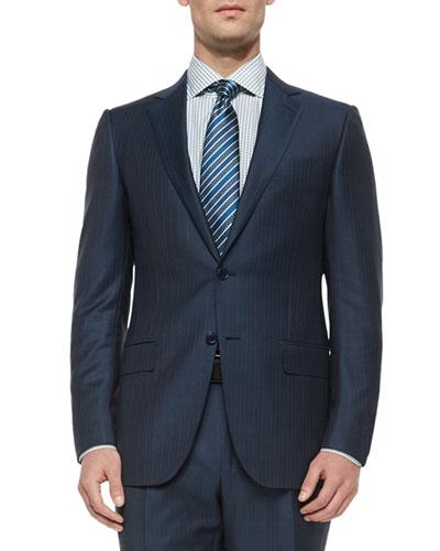 Trofeo Wool Striped Suit, Steel Blue