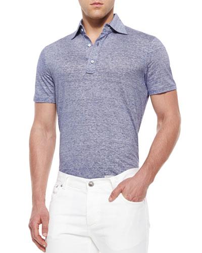 Fine-Striped Woven Polo Shirt, Navy