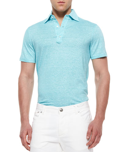 Fine-Striped Short-Sleeve Polo Shirt, Blue