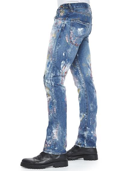 Demon Allover Paint-Splatter Slim Denim Jeans, Blue