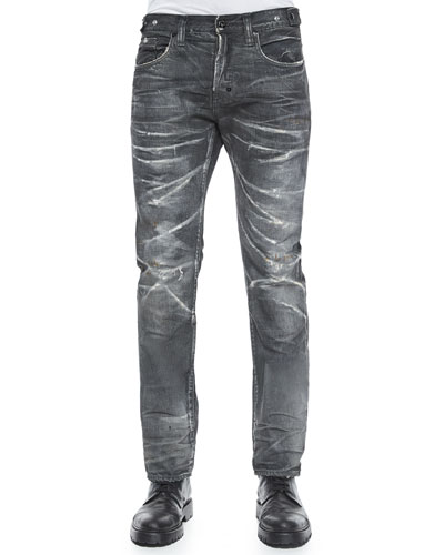 Demon Crease Wash Slim-Fit Denim Jeans, Dark Gray