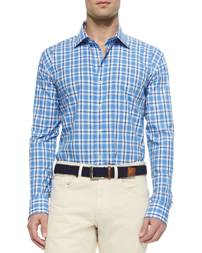 Graph & Windowpane Woven Sport Shirt, Newport Blue