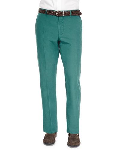 Chinolino Cotton/Linen Trousers, Green