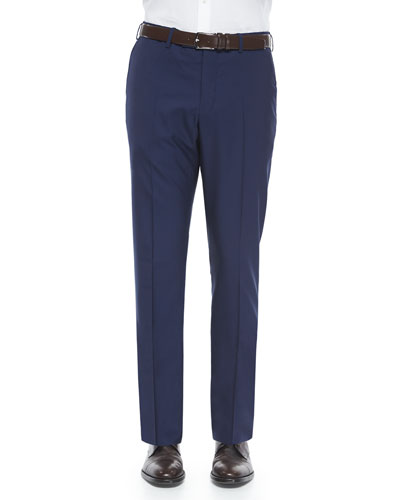 Super 150's Wool Trousers, Navy