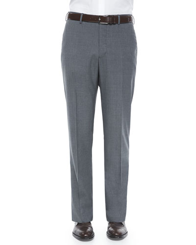 Super 150's Wool Trousers, Gray