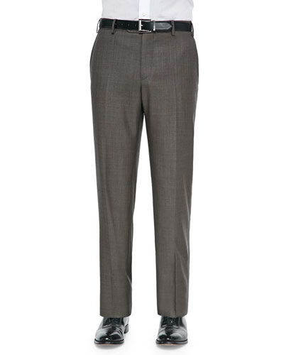 Wool Sharkskin Dress Pants, Tobacco