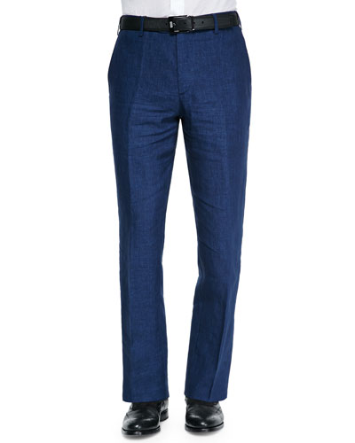 Solid Linen Dress Pants, Navy