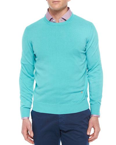 Cotton Crewneck Sweater, Turquoise
