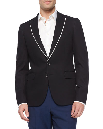 Textured Sport Coat with Contrast Piping, Black