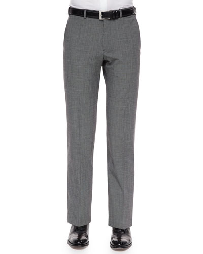 Mini-Check Wool-Blend Trousers, Black/White