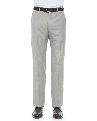 Mini Neat-Check Flat-Front Trousers, Gray/Tan