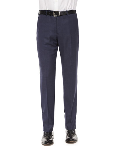 Mini Neat-Check Flat-Front Trousers, Navy