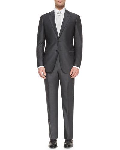 G-Line Solid Birdseye Suit, Petrol Blue