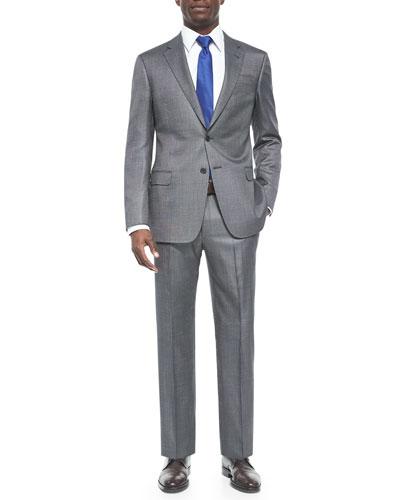 G-Line Pindot Wool Suit, Black/Silver