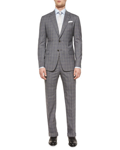 G-Line Plaid Two-Piece Suit, Gray/Blue