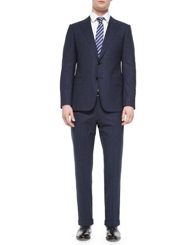 S-Line Mini-Check Two-Button Suit, Bright Blue/Navy