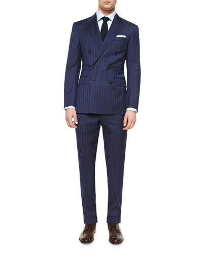 Anthony Double-Breasted Pinstripe Suit, Blue