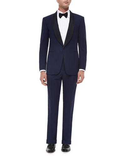 Anthony Shawl-Collar Wool Tuxedo, Navy