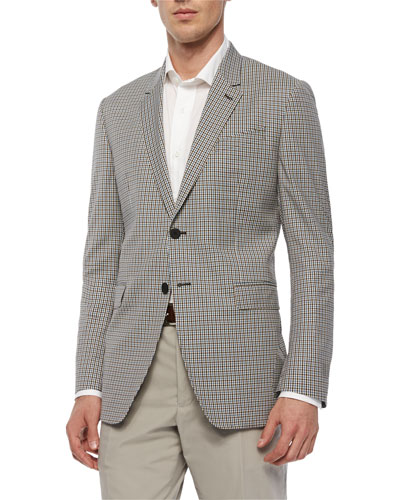 Mini-Check Two-Button Sport Coat, Brown/Teal