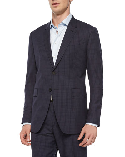 Mini-Check Two-Button Sport Coat, Navy