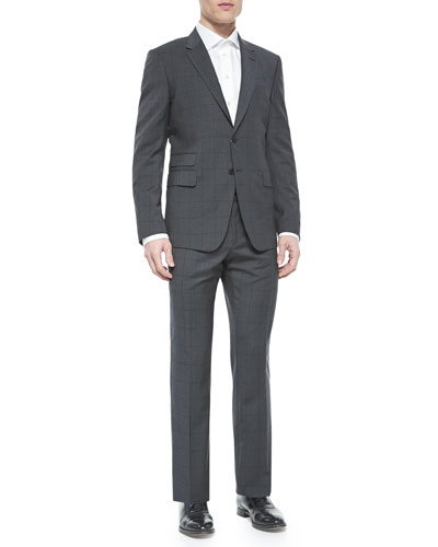Windowpane Two-Piece Suit, Charcoal/Dark Purple