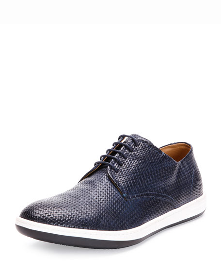 Giorgio Armani Woven Leather Sneaker, Blue