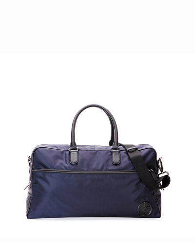 Large Nylon Duffel Bag with Leather Trim