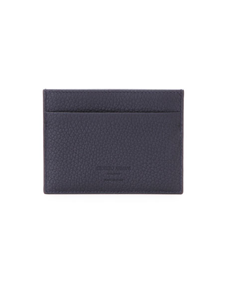 Leather Credit Card Case, Nero