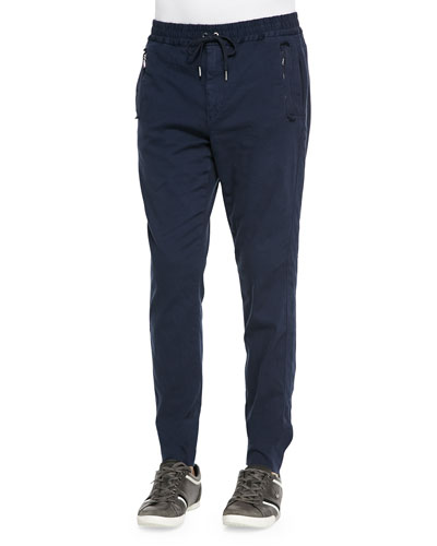 Twill Jogger Pants, Navy