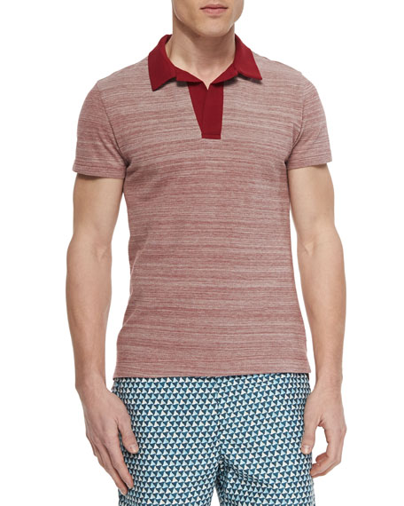 Orlebar Brown Felix Johnny-Collar Polo, Heather Red