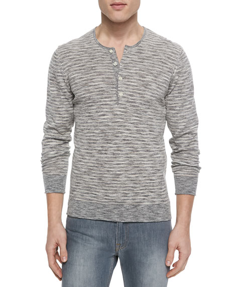 7 For All Mankind Striped Knit Long-Sleeve Henley