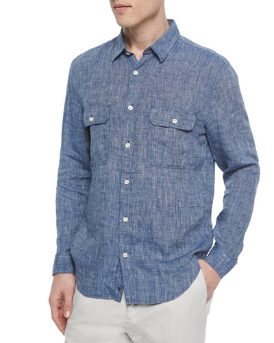 Linen Double-Pocket Sport Shirt, Blue