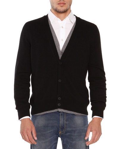 Cashmere Double-Layer Cardigan, Black