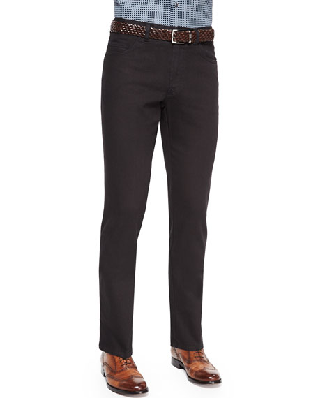 Brioni Stelvio Five-Pocket Denim Jeans, Black