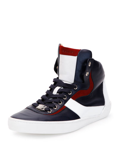 Eroy Calfskin Leather High-Top Sneaker, Navy/Red