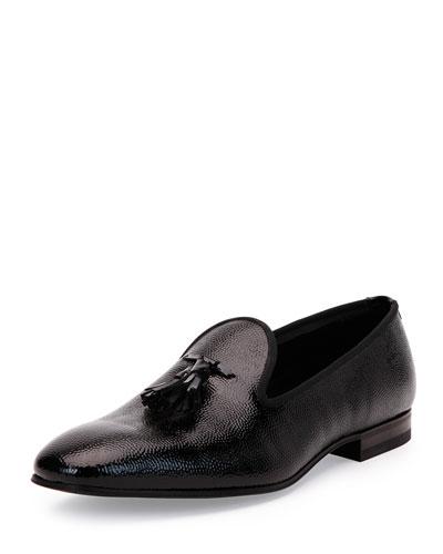 Calfskin Tuxedo Tasseled Loafer, Black