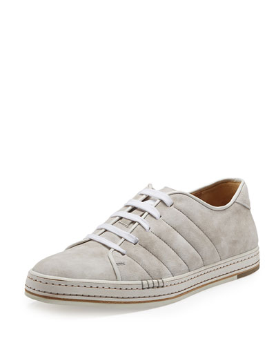 Suede Lace-Up Sneaker, White